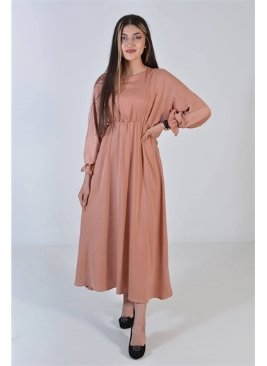 Zeren Kadın Pudra Kol Bel Lastikli Elbise Pudra
